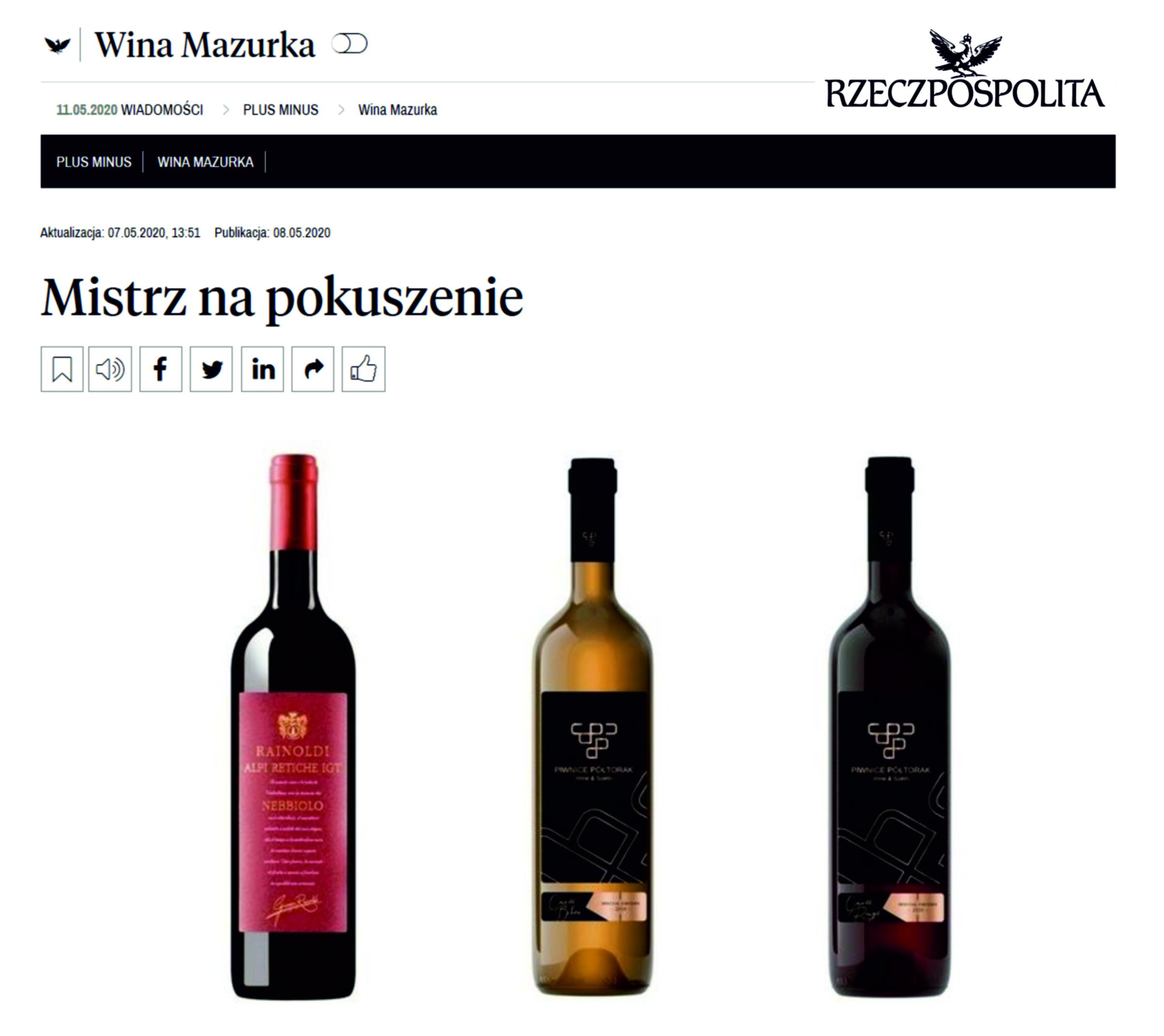 O projekcie Selekcja Sommeliera -przegląd prasy – Rzeczpospolita